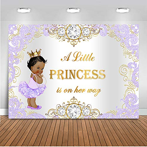 Purple And Gold Baby Shower Invitations (Mehofoto Purple Princess Baby Shower Backdrop Royal Silver Purple Photography Background 7x5ft Vinyl Royal Princess Baby Shower Party Banner)