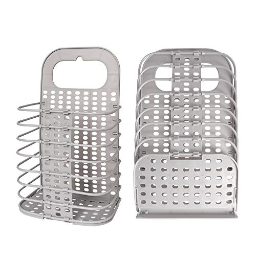 AndYin Laundry Basket Collapsible with Handle Plastic Hanger Storage Basket Hamper Mesh Dirty Clothes Free Standing Folding Laundry Bag Sorter with 2 Adhesive Heavy Duty Hanger Hooks (Grey, Small)
