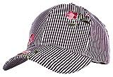 H-6053-74806 Floral Baseball Cap - Black Pinstripe
