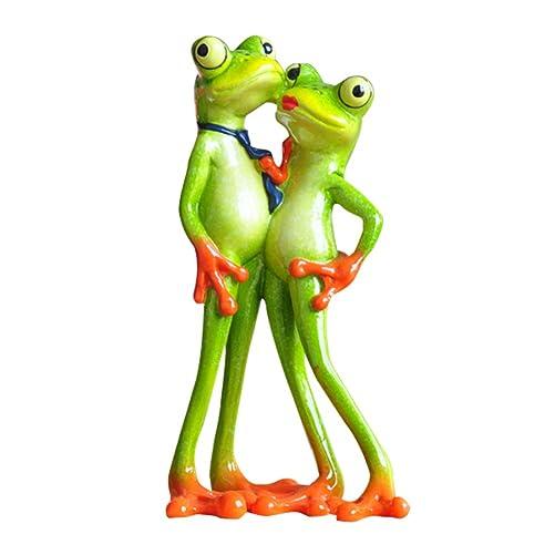 Dorlotou Frog Marry Me Cute Smart Green Frog Figurines Frog Sculpture Statue for Home Desk Bathroom Decoration,Lovers YX6029