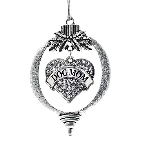 Inspired Silver Dog Mom Pave Heart Holiday Christmas Tree Ornament With Crystal Rhinestones (Tone Crystal Christmas Tree)