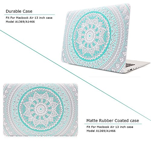 iCasso Macbook Air 13 inch Rubber Coated Soft Touch Hard Shell Protective Case Cover For Macbook Air 13 Inch Model A1369/A1466 With Keyboard Cover (Blue&White Medallion) by iCasso (Image #2)