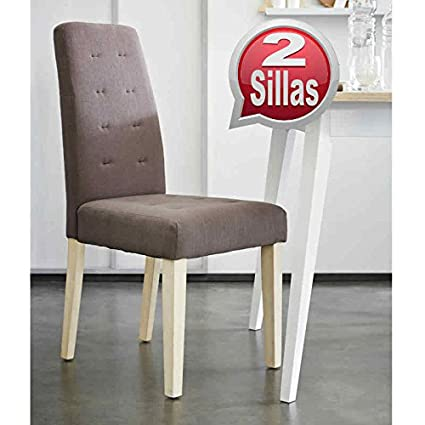Pack 2 sillas para comedor o salón tapizadas en tela marron y ...