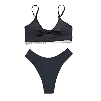 cd6dc1b6c5bd7 Image Unavailable. Image not available for. Color: Women's Tie Knot Front Bikini  Set Sexy Keyhole Swimsuit Solid Color Padded Straps High Cut Cheeky