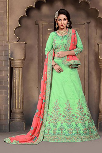 Tradizionali Verde In Indiano Seta Partywear Lehenga Facioun Etnici Choli Verdi Da Progettista 4CXxqX