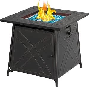 An outdoor gas fireplace