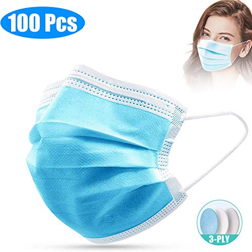 SKYLMW Disposable Face Covers,100 Pcs Facial 3 Layer Cover