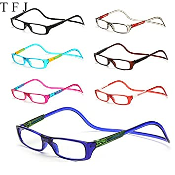 87dc1e5087b BuyWorld TFJ Magnetic Reading Glasses Men Women Clear Colorful Adjustable Hanging  Neck Presbyopic Glasses +1.0 1.5 2.0 2.5 3.0 3.5 4.0  Amazon.in  Home   ...