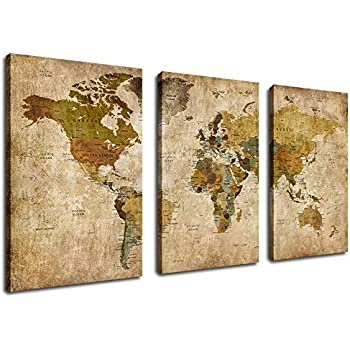 Vintage Canvas Wall Art World Map Picture for Living Room Decoration Extra Large Old Antique Map Canvas Artwork Bedroom Wall Decor Contemporary Wall Art Canvas Painting Office Home Decor 30