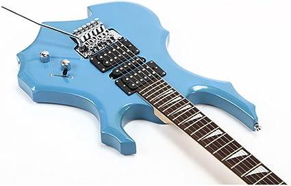 Genuino blanco azul rojo y negro llama guitarra eléctrica doble ...