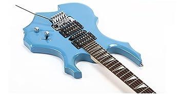 Genuino blanco azul rojo y negro llama guitarra eléctrica doble batido en forma de juego de