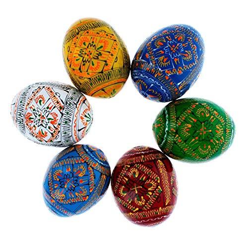 Ukrainian Easter Basket - Set of 6 Geometric Ukrainian Pysanky Wooden Easter Eggs 2.25 Inches