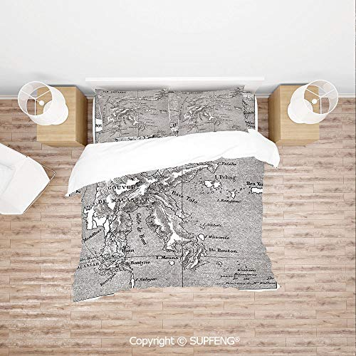 SCOXIXI 3D Duvet Cover Bedding Sets Vintage Style French Map Chart of Sulawesi Island Mediterranean Destination (Comforter Not Included) Soft, Breathable, Hypoallergenic, Fade Resistant
