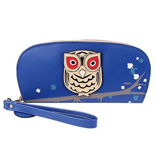 Women Bowknot Long Purse Button Wallet Clutch Hand Bag (Dark Blue) - 6