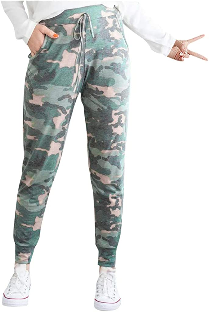 VEZAD Store Womens Harem Pants Leopard Print Elastic Waist Pocket Bandage High Waist Trousers: Clothing