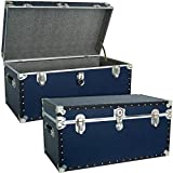 Seward Trunks Oversized Footlocker Trunk with Paper Lining, Navy Blue, 31-Inch (SWD5330-21)