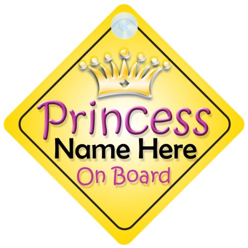 Princess On Board Gold Crown (002) Personalised Car Sign New Baby Girl / Child Gift / - Personalised Uk