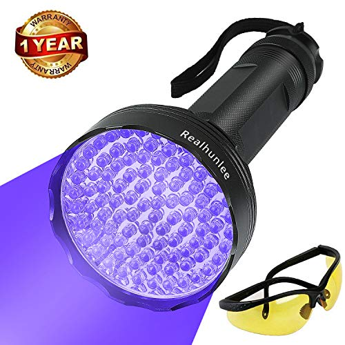 - UV Black Light Flashlight, Super Bright 100 LED #1 Best Pet Dog Cat Urine Detector light Flashlight for Pet Urine Stains, UV Blacklight Flashlight with UV Sunglasses for Bed Bugs Scorpions, Home Hotel