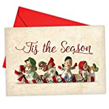 vintage angel figurines - B6719FXSG Box Set of 12 Christmas Antiquities Christmas Note Card Featuring a Classical Christmas Toy and Holiday Greeting; with Envelopes