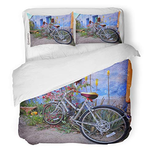 Semtomn Decor Duvet Cover Set King Size Uniquely Styled Bicycle Rests Against The Colorful Wall 3 Piece Brushed Microfiber Fabric Print Bedding Set Cover