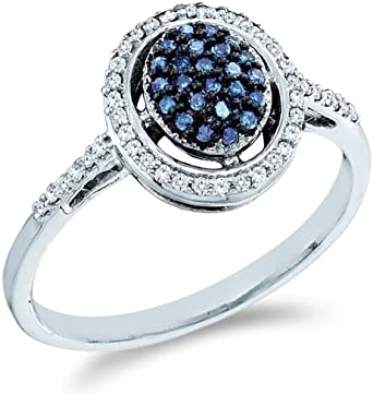 10k White Gold Oval Shape Center Cluster Style W Blue Diamonds Round Cut Ladies Diamond Engagement Anniversary Ring Band 1 4 Cttw Amazon Com