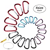 Carabiner Clip Aluminum D-Ring Spring Loaded Gate Small keychain Carabiner Clip Set for Outdoor Camping 4 Different Sizes Assorted Colors Pack of 20