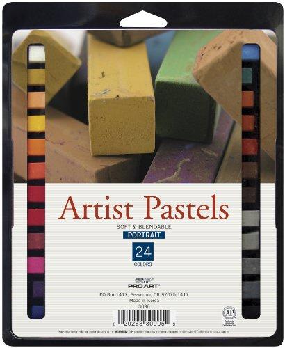 (PRO ART Square Artist Pastel Set, 24 Portrait Colors)