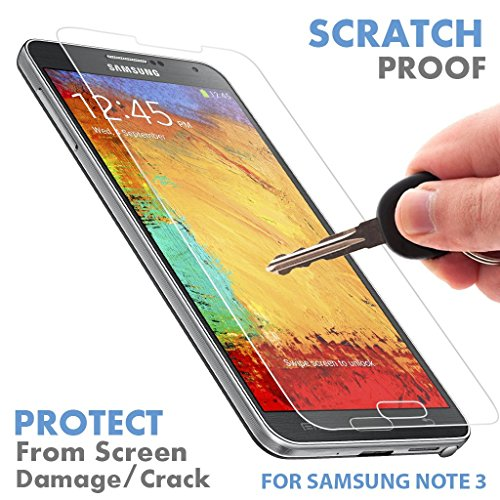 Phone Lcd Screen Protector - ⚡[ PREMIUM QUALITY ] Samsung Galaxy Note 3 Tempered Glass Screen Protector - Shield, Guard & Protect Phone From Crash & Scratch - Anti Fingerprint, Smudge & Shatter Proof - Best Lcd Display Protection