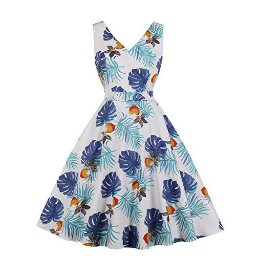 Cotton Print 1950s - Wellwits Women's Blue Palm Print V Neck 1950s Cotton Vintage Dress White 2XL