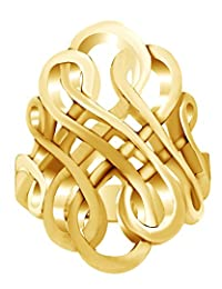 Forever Interconnected Infinity Knot Ring In 14K Gold Over Sterling Silver