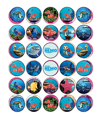 30 x Edible Cupcake Toppers - Finding Nemo Themed Collection of Edible Cake Decorations | Uncut Edible Prints on Wafer Sheet