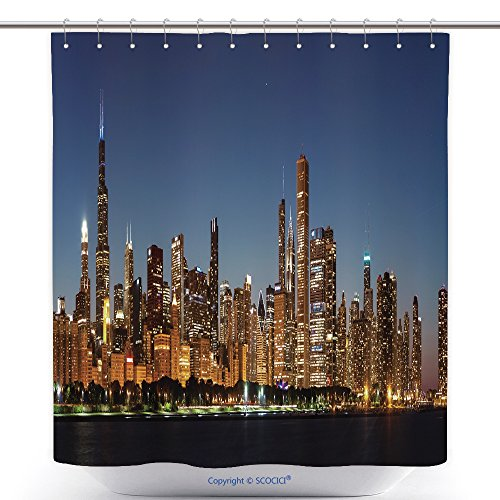 vanfan-Cool Shower Curtains Chicago Downtown City Skyline At Night And Michigan Lake Shore Drive_ Polyester Bathroom Shower Curtain Set With Hooks(70 x 92 - Outlets Michigan City Stores