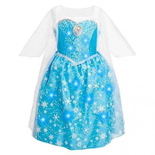 Disney Frozen Elsa Musical Light Up Little Girls Dress, Size 7-8 -