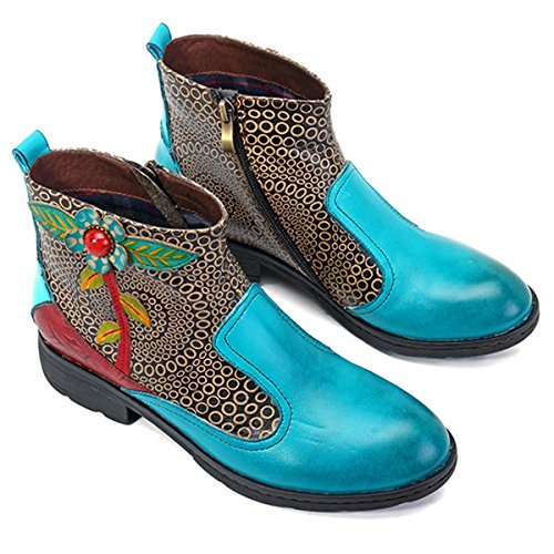 Oxford Shoes Brown Plant Top Heel Lake Ankle Retro Boots Zip Ladies Boots Women's Side Socofy Flat Leather Handmade Size Casual Red Winter Vintage Blue Pattern High RFngq8f
