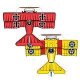 MicroKite 2 Pack, set of 2 Mini Mylar Kites, Red Baron and BiPlane