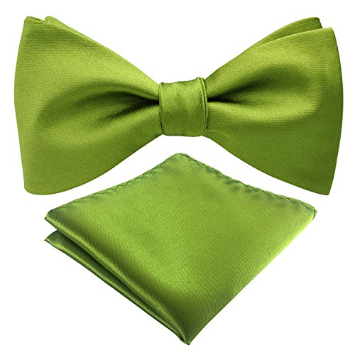 Mens Classic Solid Color Adjustable Bowtie Satin Formal Tuxedo Bow Tie Pocket Square Tie Set (Apple Green) ()