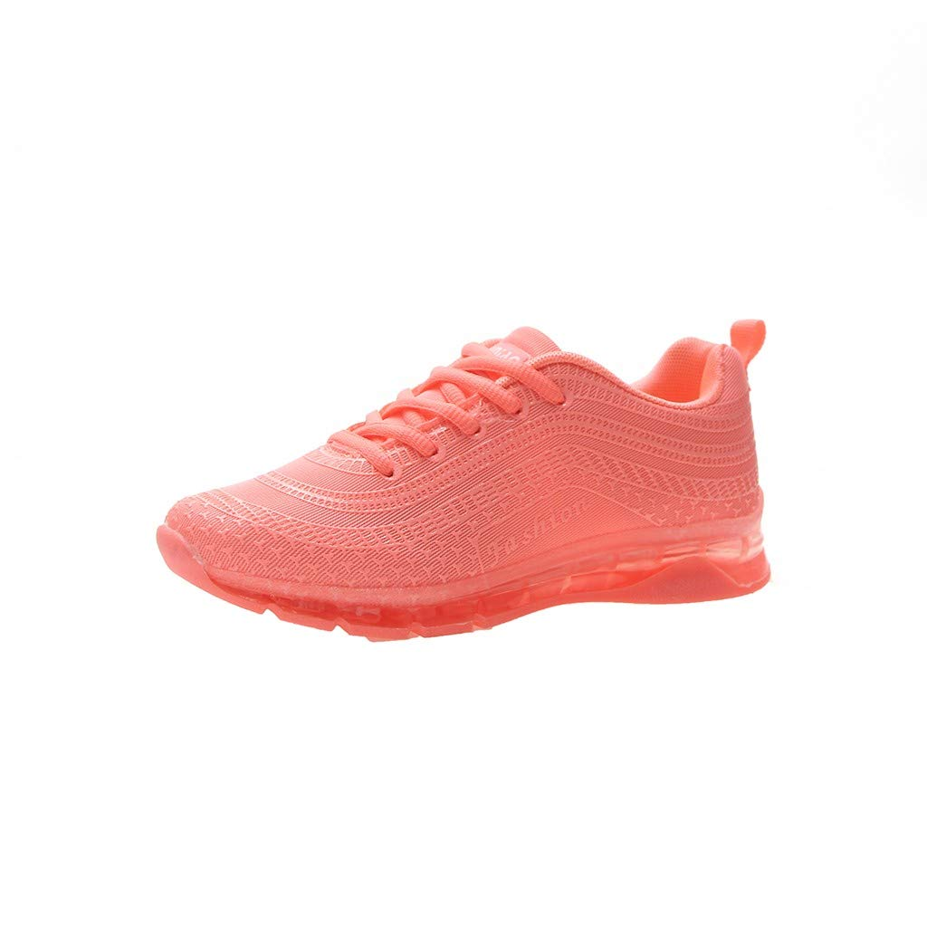 refulgence Running Sneakers, Fashion Women Flying Woven Running Mesh Lace-Up Casual Breathable Sports Shoes(Orange,US=5.5)