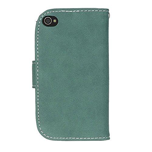 YHUISEN Caso retro del cuero de la PU de la caja superior de la carpeta de la PU del cuero sólido del estilo con la ranura para tarjeta / soporte para IPhone 4S 4 ( Color : Black ) Green