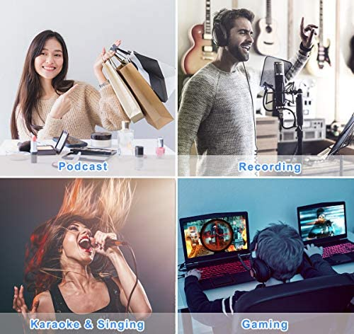 【2020 Upgraded】 USB Condenser Microphone for Computer, Great for Gaming, Podcast, LiveStreaming, YouTube Recording, Karaoke on Computer, Plug & Play, with Adjustable Metal Arm Stand, Ideal for Gift 51 ZrAR28IL