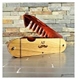 Wood and Bamboo Beard and Mustache Folding Comb, Pocket Knife Style with Engraved Details