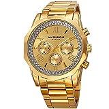 Akribos XXIV Men's Quartz Multifunction Crystal Accented Gold-Tone Stainless Steel Bracelet Watch - AK999YG