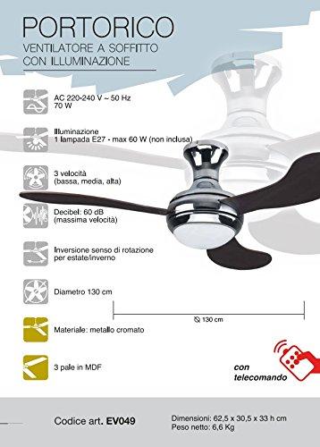Ventilatore da soffitto SV049 Portorico CFG con luce e telecomando