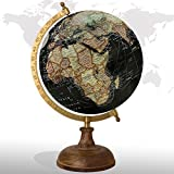 Decorative Rotating World Map Globe Black 8'' Inches Wood Base Educational Globe Office Table Topper