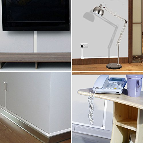 "Cable Management Channel - CMC-01 Cord Raceway Kit Organizing Mount TV System Hide Computer Cables - 125"" Paintable Electronic Wire Cover On-Wall Runner Concealer - 8x L15.7in, W0.95in H0.55in, White by Yecaye (Image #1)"