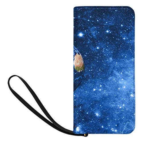 InterestPrint Women's Planet Earth Clutch Wallet with Card Holder Cash Pocket Wrist Strap