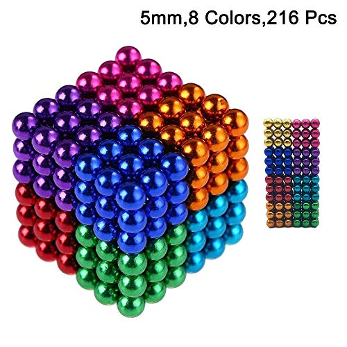 Colorful Building - Magnetic Balls kids education Set Sculpture Building Blocks Toys colorful Perfect Crafts Intelligence Learning Magnets Cube Provides Stress Relief Anxiety Autism (512/216pcs 6/8 Color, 5MM) (216pcs)