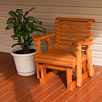 Amish Heavy Duty 600 Lb Roll Back Pressure Treated Glider Chair with Cupholders Cedar Stain