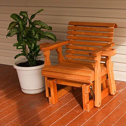 Amish Heavy Duty 600 Lb Roll Back Pressure Treated Glider Chair With Cupholders Unfinished
