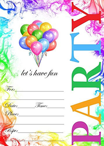 Birthday İnvitations | Birthday Party İnvitations | 20 Invitations and Envelopes - for Boys and Girls Birthday Party İnvitations | Party Supplies - Kids,Children,Teens,Happy Brirthday (Designs Birthday Invitations)