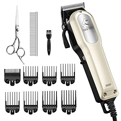 OMORC Dog Clippers with 12V Hig Power for Thick Heavy Coats, Professional Heavy Duty Dog Grooming Kit, Plug-in & Quiet Pet Clippers with 8 Comb Guides, 1 Scissor, 1 Comb and 1 Cleaning Brush for Dogs